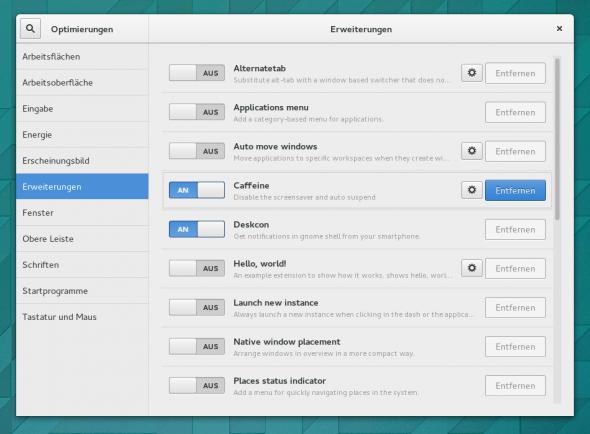Die DeskCon-Extension erscheint nach einem Neustart der Gnome Shell.