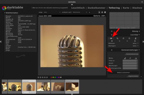 Über die Seitenleiste lässt sich die Kamera auch in den Live-View-Modus schalten.