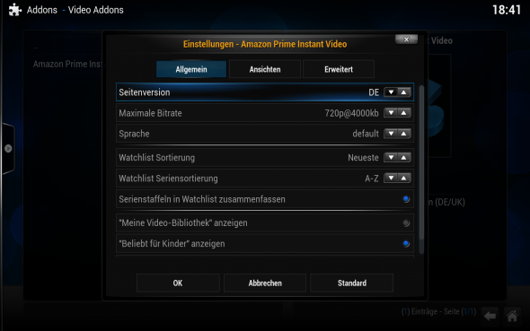 Damit der Zugriff von Kodi auf Amazon Prime Video klappt, muss im Addon das deutsche Portal gewählt werden.