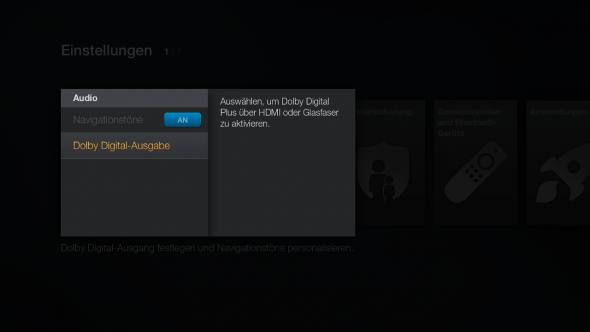 In den Einstellungen des Fire TV lässt sich die Audio-Ausgabe entsprechend konfigurieren.