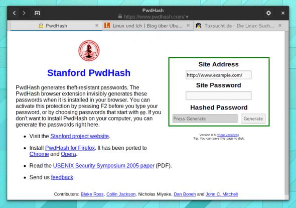 Die PwdHash-Seite braucht man nur, wenn man auf ein Browser-Plugin verzichtet.