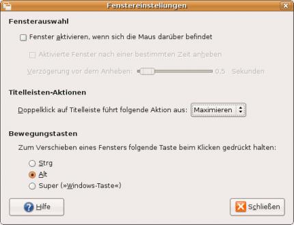 Die Möglichkeiten zur Konfiguration sind bei GNOME recht spartanisch. Nur die Taste, mit der die Verschiebe-Aktion ausgelöst wird, lässt sich bestimmen.