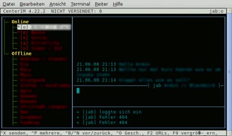 Selbst Chats sind kein Problem. Mit CenterIM kann man so gut wie alle Instant Messaging Dienste nutzen sowie natürlich IRC.