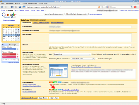 Zuerst muss man sich die URL, über die die Informationen abgerufen werden sollen, aus den Einstellungen des Google Kalenders kopieren.