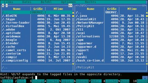 Der Midnight Commander erinnert stark an den Norton Commander. Mit diesem Dateimanager kann man komfortabel Datei verschieben, kopieren usw. und sogar mit dem eingebauten Editor bearbeiten.