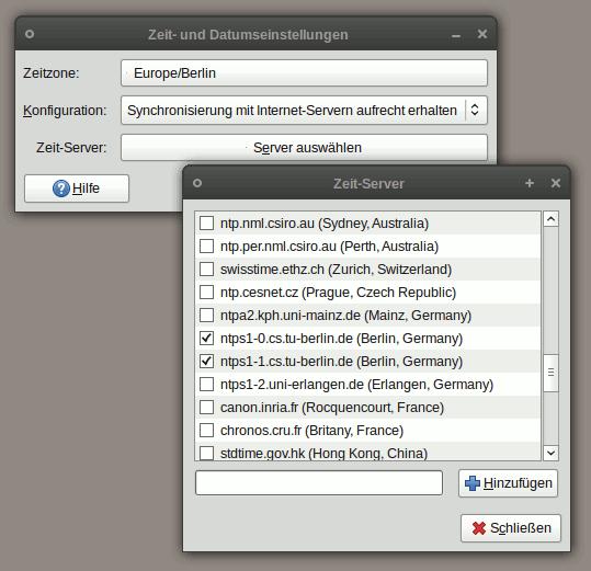 Anschließend kann man die zu benutzenden Zeitserver aus einer Liste auswählen. Auch hier findet man wieder die Server aus Berlin.