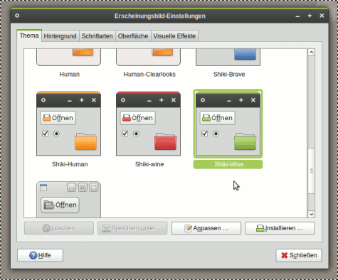 Shiki-Colors, ein Theme für GTK und Metacity. Dazu GNOME-Colors als passendes Icon Theme.