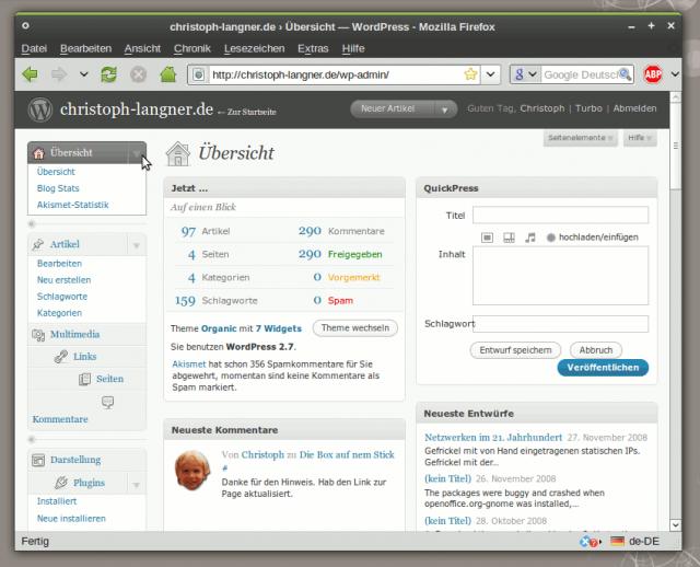 Das neue Admin Panel von WordPress 2.7
