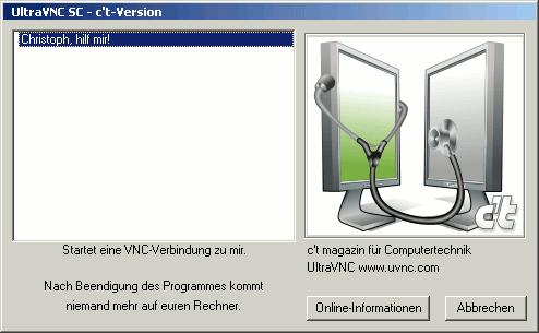 Der One-Click VNC-Server auf Windows XP. Der Hilfesuchende muss das Programm nur starten und die VNC-Verbindung dann über einen Doppelklick initialisieren.