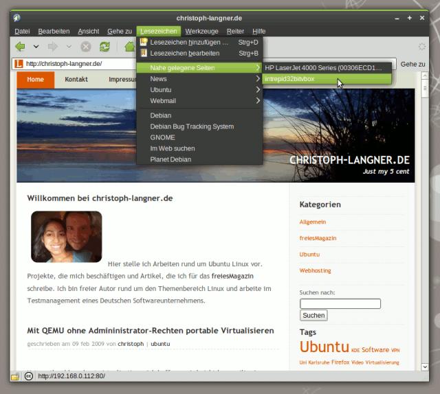 Epiphany bindet automatisch Webserver in die Lesezeichen ein, die sich über Avahi/Zeroconf im Netzwerk bekannt machen.