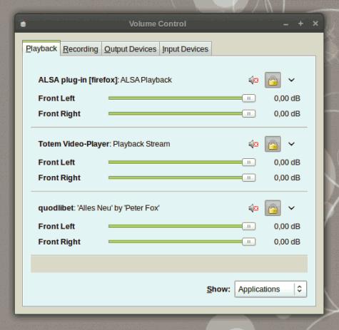 ...und natürlich auch die Audiostreams. Also alle Anwendungen, die gerade Audiosignale abspielen wollen.