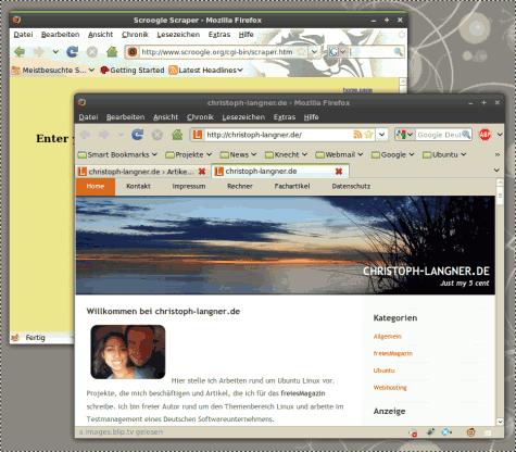 Zwei Instanzen von Firefox laufen zur selben Zeit.