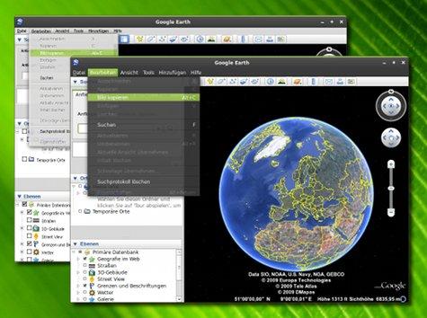 Der Vergleich: Google Earth im nativen GTK-Look