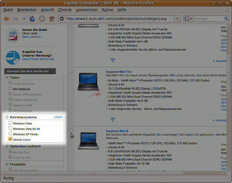Im Dell-Shop kann direkt nach Ubuntu Linux als Betriebsystem gefiltert werden.