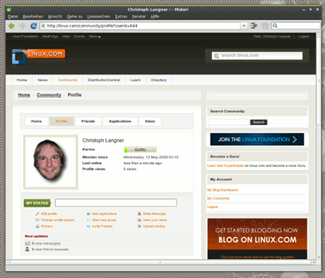 Social Networking über Linux.com