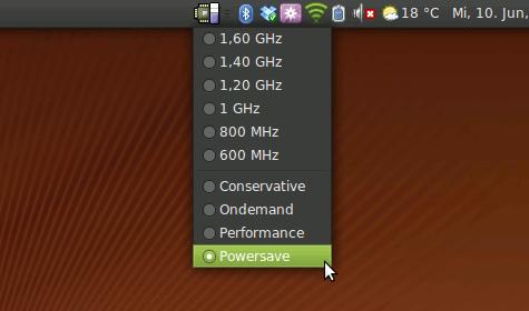 Das GNOME Frequency Applet zur Steuerung der Taktraten