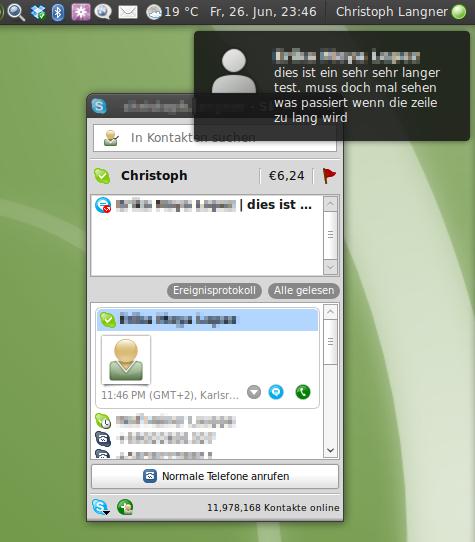 Skype benutzt notify-osd für Benachrichtigungen.