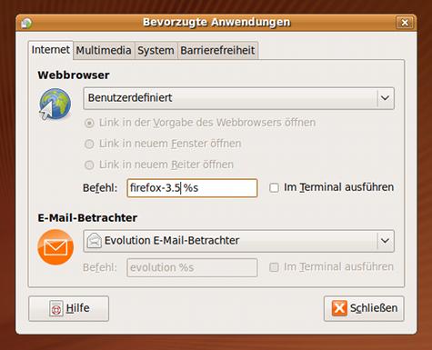 Firefox 3.5 als Standardbrowser