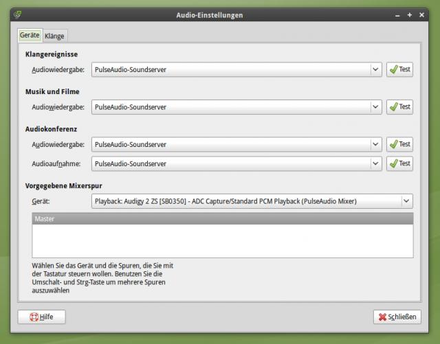 GNOME für PulseAudio konfigurieren (eigentlich Standard in Ubuntu)