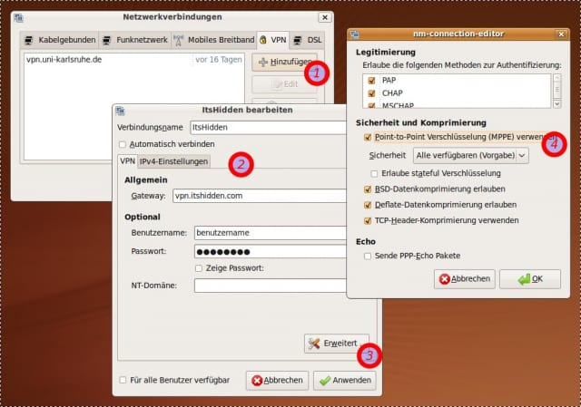 VPN-Zugang zu It'sHidden unter Ubuntu einrichten.