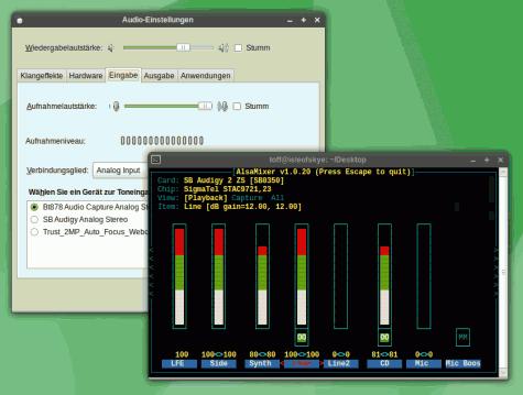 Der neue PulseAudio-Mixer von GNOME und AlsaMixer