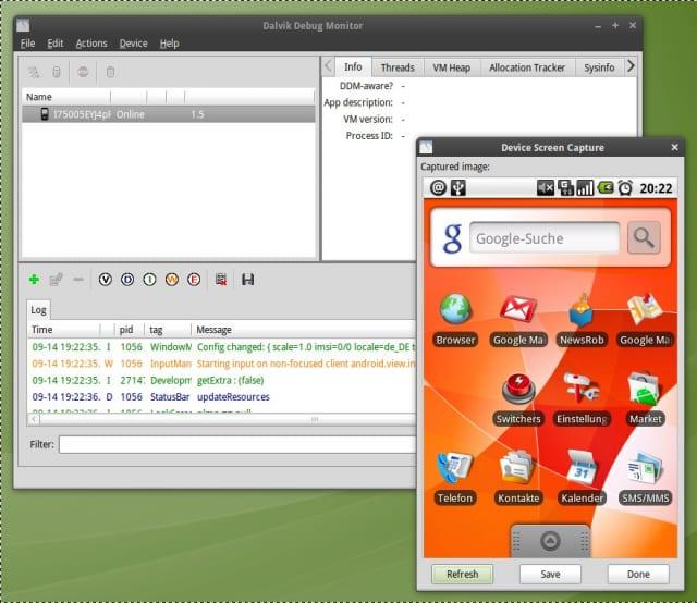 DDMS zeigt den Screen des Samsung Galaxy unter Ubuntu 64-bit