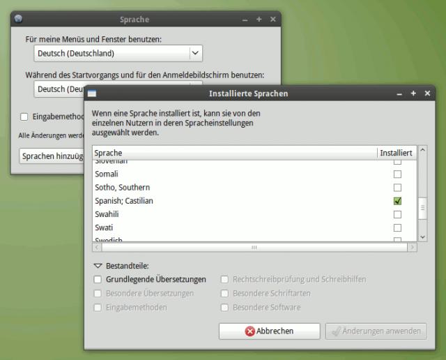 Zusätzliche Sprachen installieren.