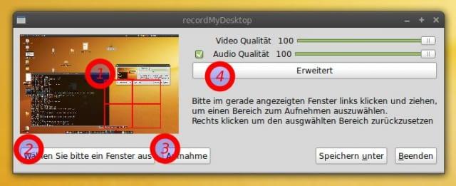 Die graphische Oberfläche von recordMyDesktop