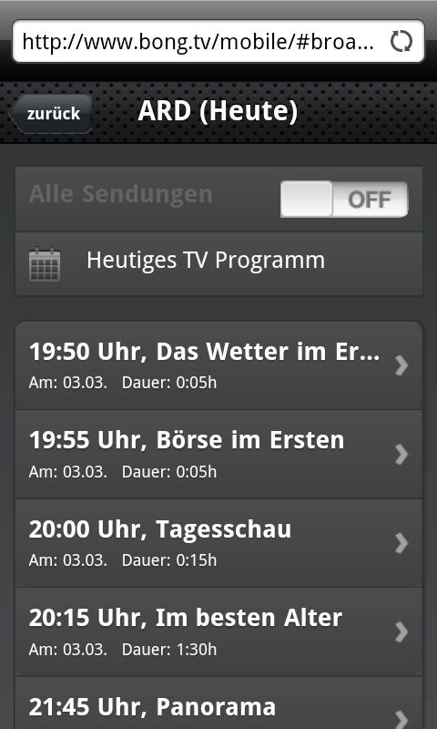 BONG.TVmobile: Der EPG