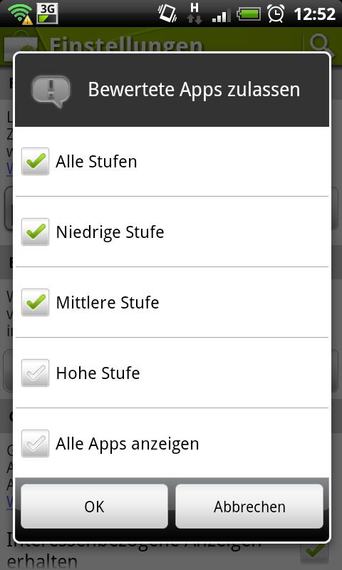 Filter für den Android Market