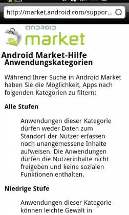 Filter für den Android Market