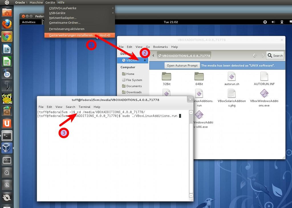 Die Gasterweiterungen für VirtualBox in Fedora 15 Lovelock