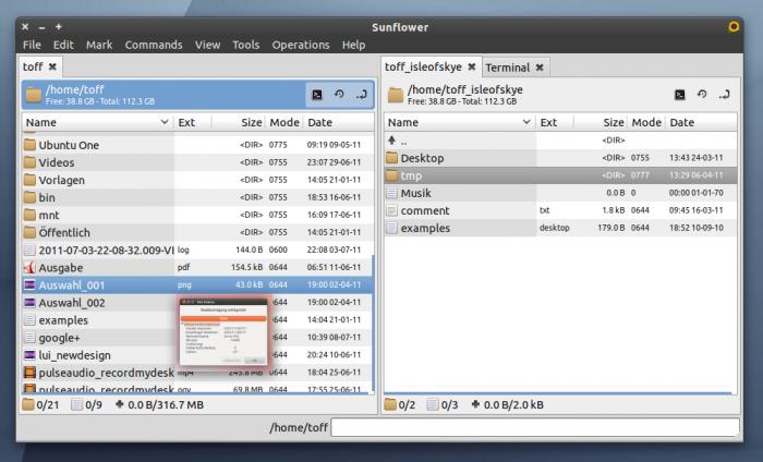 Der zum Total Commander sehr ähnliche Sunflower Dateimanager für Linux.