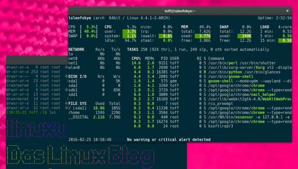 Glances auf Arch Linux