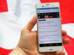 Chrome für Android vor schweizer Flagge