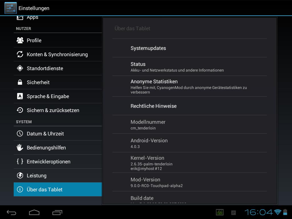 "Android 4.0 ""ICS"" über CyanogenMod auf dem HP TouchPad ..."