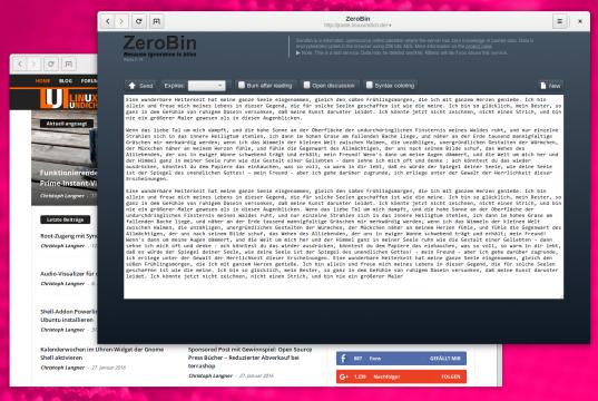 Zerobin von Linuxundich gehostet