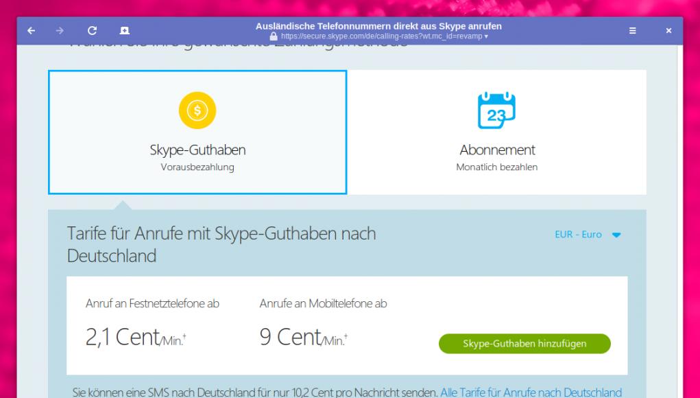 Skype aufladen
