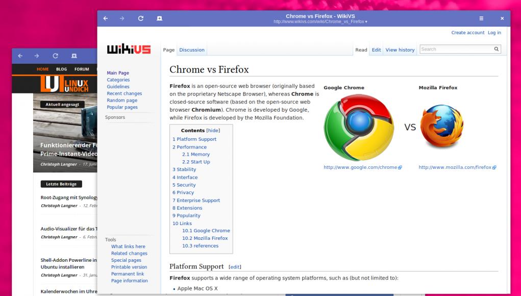 WikiVS zu Chrome und Firefox