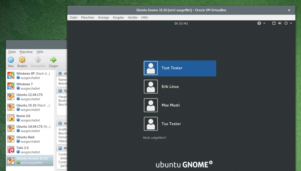 VirtualBox Ubuntu Gnome