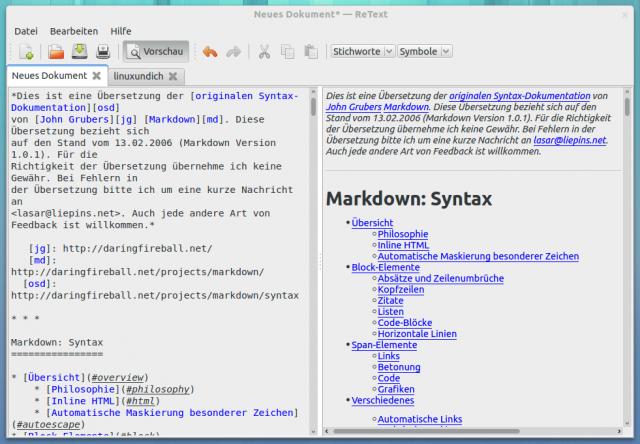 Mit ReText verfasst Ihr Texte in der Markdown-Syntax und habt auch gleich eine Live-Ansicht.