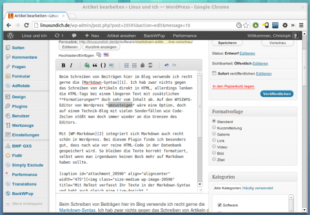 WP-Markdown mit angepasster Editor-Icon-Zeile in WordPress.