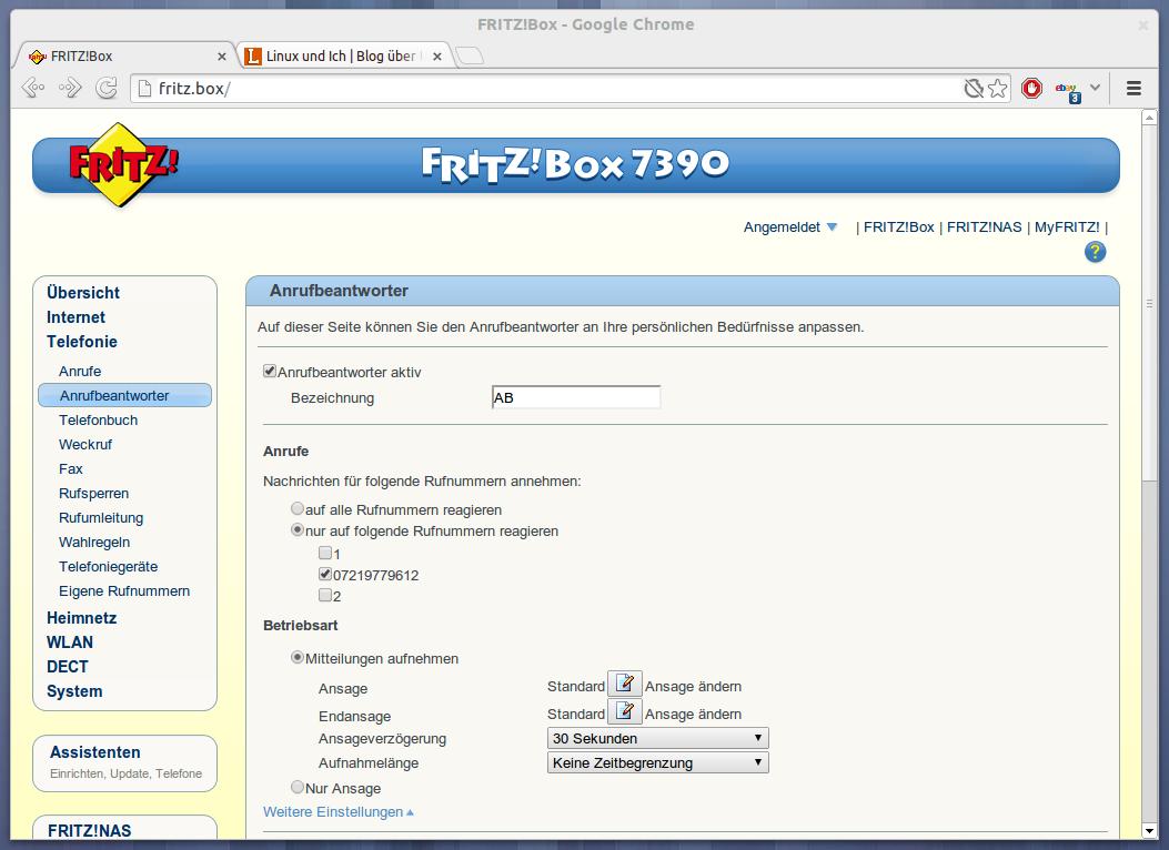 Anleitung   Fritzbox Anrufbeantworteransage als MP20