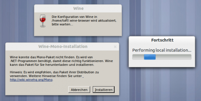 Beim ersten Start werden Wine und Firefox für WIndows heruntergeladen.