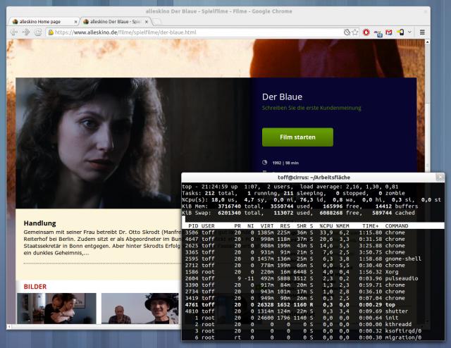 Aufgrund von Adobe Flash liegt die Auslastung während eines Streams ziemlich hoch.