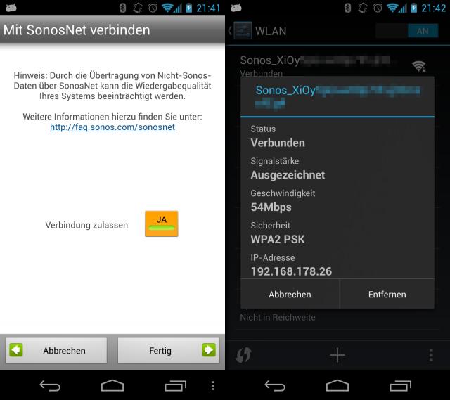 Unter Android lässt sich die Nutzung des SonosNet sehr einfach einrichten.