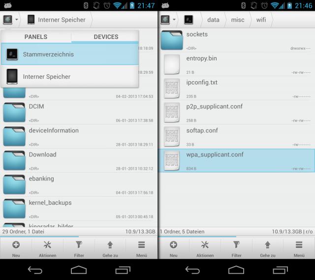 Auf einem Androiden mit Root-Rechten lassen sich die WLAN-Zugangsdaten auslesen.