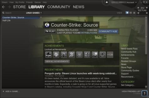 Installierte Games lassen sich vom den Client oder das Startmenü aus starten.