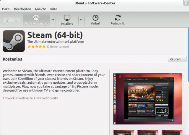 Steam gibt es für 32- und 64-Bit Ubuntus im Ubuntu Software-Store.