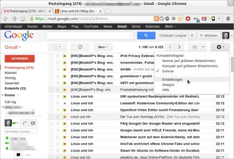 Über die Einstellungen kommt man zu den Filternregeln Gmails.